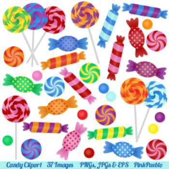 Candy Clipart with Lollipops, Peppermints, Hard Candy and Bonbons