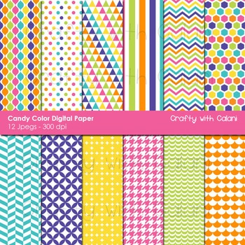 Candy Colors Pattern Digital Paper and Background Set