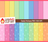 Candy Colors Pastel Pattern Digital Papers - Backgrounds