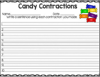 Candy Contractions Center Game