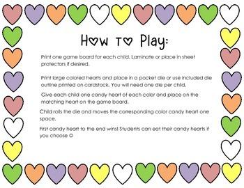 Candy Conversation Heart Races Preschool Math Dice Game Valentine's Day
