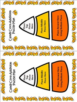 Candy Corn Math Activities: Candy Corn Addition Puzzles Math Activity -Color