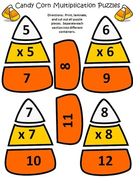 Candy Corn Activities: Candy Corn Multiplication Puzzles Halloween Math - Color