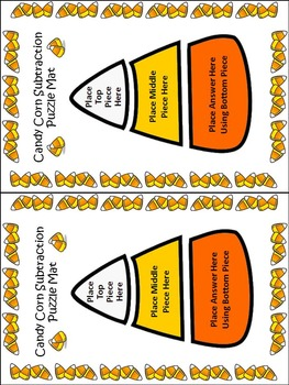 Candy Corn Activities: Candy Corn Subtraction Puzzles Halloween Activity - Color