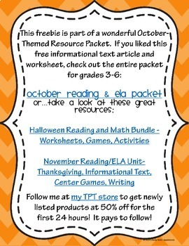 Halloween Reading Comprehension Passage and Questions