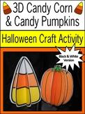 Candy Corn Activities: 3D Candy Corn & Pumpkins Halloween Craft Activity - B/W