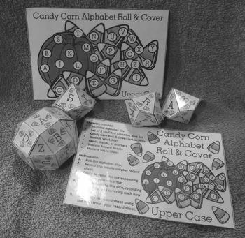 Candy Corn Activities: Candy Corn Alphabet Roll & Cover Halloween Activity