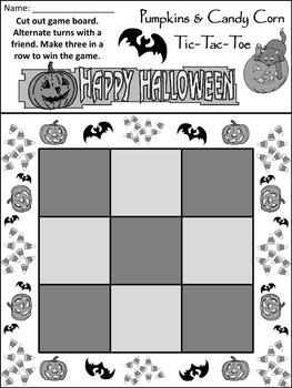Candy Corn Activities: Pumpkins & Candy Corn Halloween Tic-Tac-Toe Game Activity