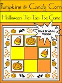 Candy Corn Activities: Pumpkins & Candy Corn Halloween Tic-Tac-Toe Game - B/W