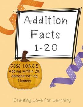 Candy Corn Adding to 20 Halloween Math Center