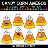 Fall Candy Corn Faces Amigos Clipart