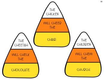Candy Corn Articulation Silly Sentences for /CH/, /SH/, & /TH/