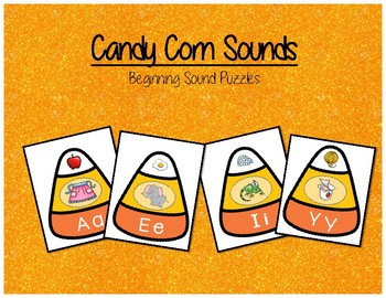Candy Corn Beginning Sound Puzzles - Kindergarten Literacy Center
