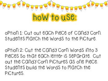Literacy Center: Candy Corn CVC Match