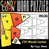 Candy Corn CVC Word Puzzles Halloween Center