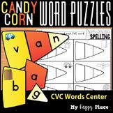 Candy Corn CVC Word Puzzles Halloween Center