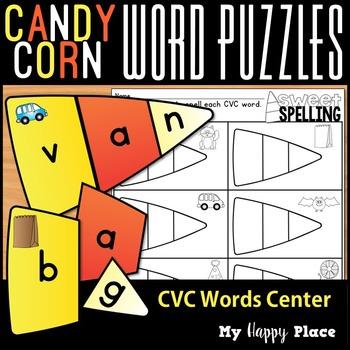 Candy Corn CVC Word Puzzles - Halloween