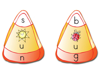 Candy Corn CVC word puzzles