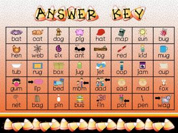 Candy Corn CVC word puzzles