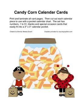 October Candy Corn Calendar Cards