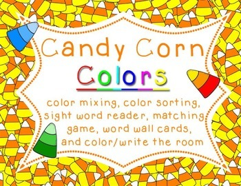 "Candy Corn Colors - Color Word Activities - ""Colour"" version also included"
