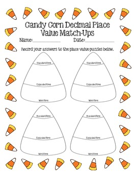 Candy Corn Decimal Place Value Match-Up Puzzles (5th Grade Common Core)