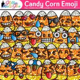 Candy Corn Emoji Clip Art {Halloween Emoticon & Smiley Faces for Brag Tags}