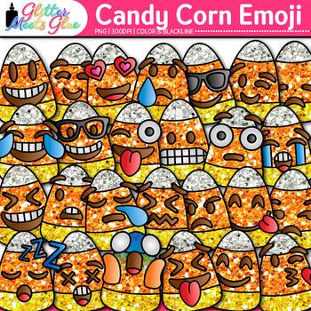 Candy Corn Emoji Clip Art | Halloween Emoticon & Smiley Faces for Brag Tags