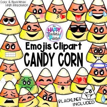 HTP Clip Art Candy Corn Emojis Watercolor {The Happy Teacher's Palette}