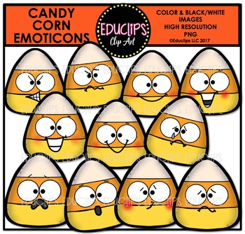Candy Corn Emoticons Clip Art Bundle {Educlips Clipart}
