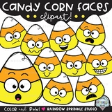 Candy Corn Faces {candy corn clipart}