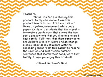 Candy Corn Fact Families Sums to 10