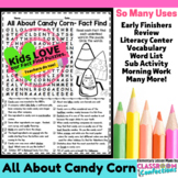 Candy Corn: All About Candy Corn Reading and Word Search Activity