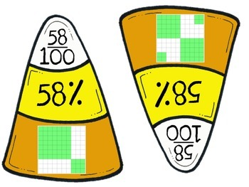 Candy Corn Fraction, Decimal, Percent Match Up