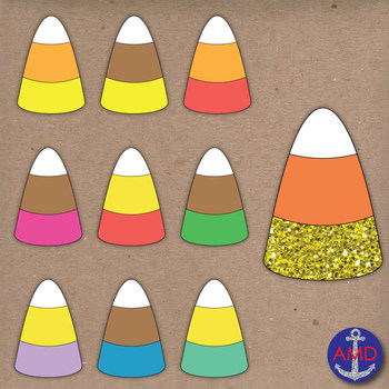 Candy Corn & Glitter Halloween Clip Art