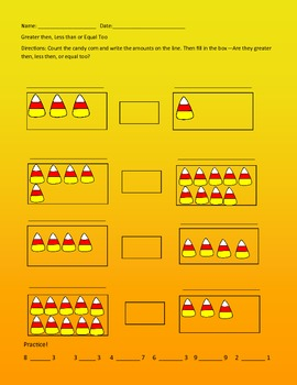 Candy Corn--Greater Then, Less then or Equal Too?