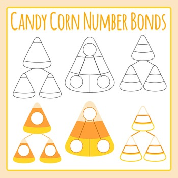 Candy Corn Halloween Number Bonds Clip Art for Commercial Use