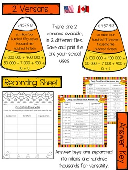 Candy Corn Halloween Place Value Center - Millions