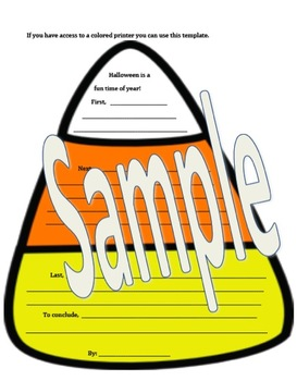 Candy Corn Halloween Writing Activity