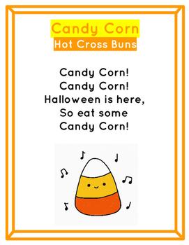 Candy Corn Hot Cross Buns Halloween Recorder Activity