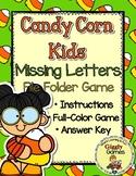 Candy Corn Kids Missing Letters File Folder Game