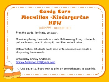 Candy Corn Kindergarten HFW- to stamp