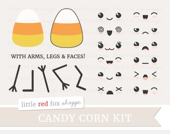 Candy Corn Kit Clipart; Halloween, Dessert, Kawaii