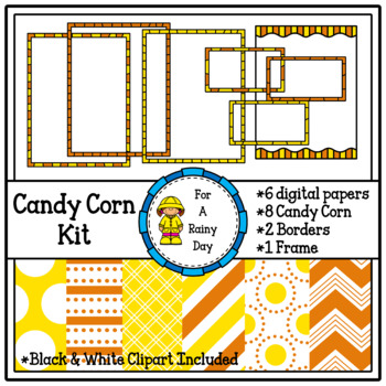 Candy Corn Kit-Digital Papers & Clipart