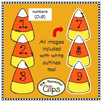 Candy Corn Letters and Numbers Clip Art