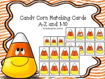 Candy Corn Matching Cards A-Z and 1-10