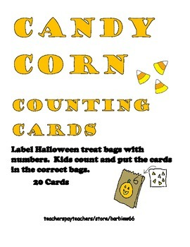 Candy Corn Math Center: Counting to 10  in Different Confi