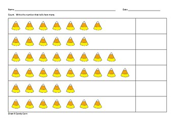 Candy Corn Counting Practice Worksheets: K.CC.4