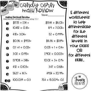 Candy Corn Math Decimal Review