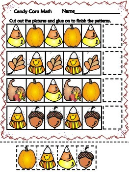Candy Corn Math- Fall themed pattern worksheet